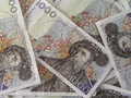 Swedish currency kronor background of Stock Photo