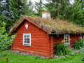 Swedish ecological red cabin Royalty Free Stock Photography