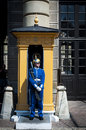 Swedish female soldier a guard on duty standing outside sentry box Royalty Free Stock Photo