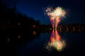 Swedish fireworks beautiful over the lake Royalty Free Stock Photo
