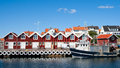 Swedish fishing town small marina at the fjällbacka on the west coast Royalty Free Stock Photography