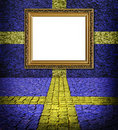 Swedish flag style Elegant frame on blue wall Royalty Free Stock Images
