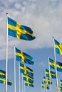 Swedish flag sway in the breeze Royalty Free Stock Image