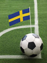 Swedish flag on top of soccer ball Stock Images