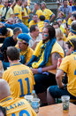 Swedish football fans on euro 2012 Royalty Free Stock Photo