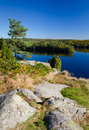 Swedish hill view with reflections Royalty Free Stock Photography