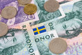 Swedish kroner flag an arrangement of notes coins and Royalty Free Stock Photography