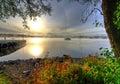 Swedish lake in autumn scenery Stock Image