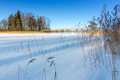 Swedish lake coast with wooden bridge beautiful natural landscapes in winter season Stock Photo