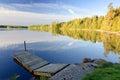 Swedish lake in september morning light idyllic landscape with wooden bridge Stock Images
