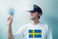 Swedish man exploring virtual reality environment Royalty Free Stock Photo