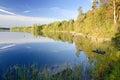 Swedish natural lake in autumn season idyllic september landscape with morning reflection Stock Image