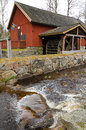 Swedish old watermill traditional in vertical landscape Royalty Free Stock Photo