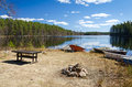 Swedish paradise for anglers beautiful landscape lake coast in spring season Stock Photography