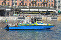 Swedish police boat a policeboat patrolling the water in front of grand hotel stockholm where barack obama is staying during his Royalty Free Stock Photography