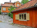 Swedish red and yellow cabin Stock Photos