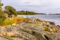 Swedish and rocky coast on the baltic sea landscape of Royalty Free Stock Photo