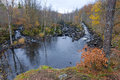 Swedish salmon river in late autumn season idyllic scenery of Royalty Free Stock Photo