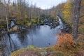 Swedish salmon river in late autumn season idyllic scenery of Royalty Free Stock Photo