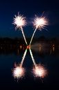 Swedish spring fireworks beautiful over the lake Stock Photo