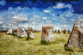 Swedish standing stones painting of the famous south sweden ales stenar Royalty Free Stock Images