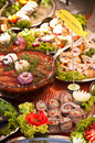 Swedish table of fish dishes richly served Royalty Free Stock Image