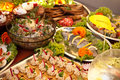 Swedish table of fish dishes richly served Stock Image