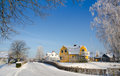 Swedish village in winter Stock Photo