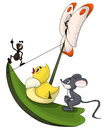 Sweet ant duck mouse butterfly voyage vector illustration character done in cartoon style on a white background isolated cut Royalty Free Stock Image