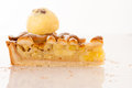 Sweet apple pie with ice cream isolated over white background Royalty Free Stock Photo