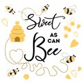 Sweet as can Bee banner bee on white background Cute banner design for Baby Shower Kids birthday
