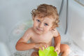 Sweet baby boy taking bath Royalty Free Stock Image