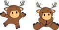 Sweet baby deer cartoon set