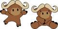 Sweet baby ox cartoon set