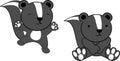 Sweet baby skunk cartoon set