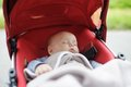 Sweet baby in stroller Royalty Free Stock Photo