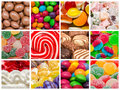 Sweet background collage delicious sweets with candies cookies and other confectionery Stock Photos