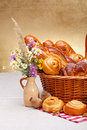 Sweet bakery products in basket Royalty Free Stock Image