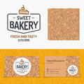 Sweet bakery set with logo consisting of cake and sign fresh and