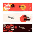 Sweet banners hand drawn vector illustrations Stock Photo