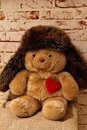 Sweet bear with a heart and a cap teddy Royalty Free Stock Photos