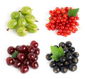 Sweet berries on white background blackcurrant gooseberry cherry and redcurrant closeup Royalty Free Stock Image
