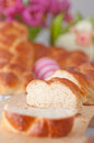 Sweet braided easter bread with eggs Stock Photo