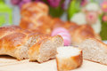 Sweet braided easter bread with eggs Stock Image