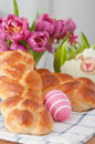 Sweet braided easter bread with eggs Stock Images