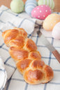 Sweet braided easter bread with eggs Royalty Free Stock Photography