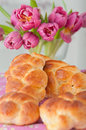 Sweet braided easter bread with eggs Royalty Free Stock Images