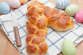 Sweet braided easter bread with eggs Royalty Free Stock Image
