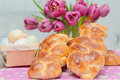 Sweet braided easter bread with eggs Stock Photography