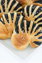 Sweet bread with black sesame cream Royalty Free Stock Photography